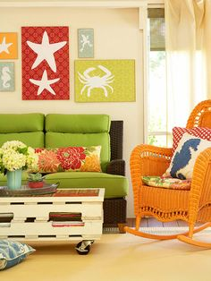 The art on the walls is cute.  Modge podge scrapbook paper to wood and add white shapes to match room theme.