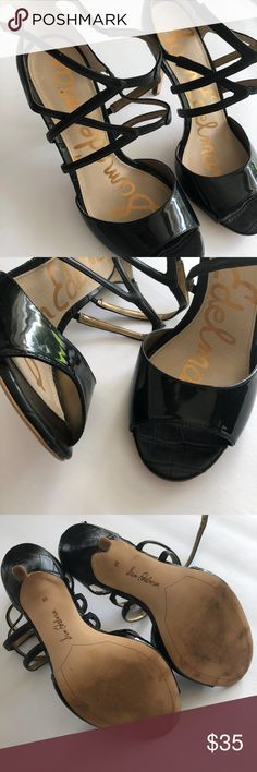 Sam Edelman Black Strappy Heels Staple Wardrobe Piece Strappy Black Patent Sam Edelman Heels  Slight wear to the sole (see detailed pictures) - excellent condition  Womens size 10 Sam Edelman Shoes Heels