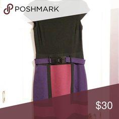 ModCloth Dress black/purple/pink w/belt 80s mod dress, stretchy top, capped sleeves, belt ModCloth Dresses Mini