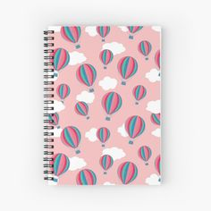 'Hot air balloons - pink' Spiral Notebook by wackapacka Notebook Design, My Notebook, Hot Air Balloon, Spiral, Back To School, Balloons, My Arts, Art Prints, Printed