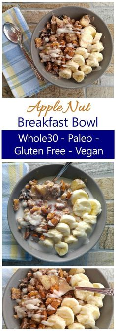 This Whole30 Breakfast Bowl is a warm bowl of healthy ingredients. Its also Paleo, Vegan, Dairy Free and Gluten Free. So filling and tasty!
