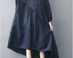 Rund cou lâche raccord Long Maxi robe - robe courte bleu marine à manches robe de lingerie pour femmes