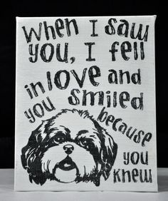 BlackestBlack 4-Day SALE Saw you I fell In Love - Shih Tzu-Unique Canvas Art, wall decor, wall art, Custom Dog  Breed, Pet  Art