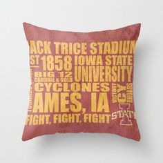"A must-have for any Cyclone fan, this 16x16"" pillow case with pillow insert features the essence of the Iowa State in beautiful typography. This gorgeous printed pillow will look great in any proud Cyclone household. Fight, fight, fight for Iowa State!"