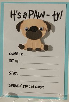 Pug Party Invitation, Puppy Birthday Invites, Dog Party Invites, Pet Party on Etsy, $2.00