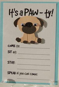 Pug Party Invitation Puppy Birthday Invites Dog Pet On Etsy