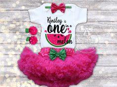 Watermelon Birthday 1st Birthday Girl Outfit by BabySquishyCheeks
