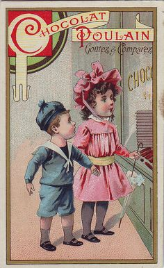 CHROMO CHOCOLAT♥ POULAIN - BOY AND GIRL LOOKING NTO A SHOP SELLING CHOCOLATE - HEROLD IMP by patrick.marks,