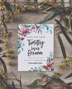 Australia Australian native flower floral bottlebrush protea gum trees leaves wedding invitations stationery Melbourne custom ink hearts paper
