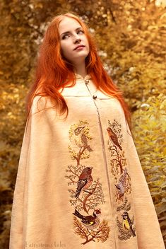 Forest birds cloak - Embroidery by Fairysiren Model: Anastasya Fantasy Dress, Fantasy Costumes, Historical Clothing, Costume Design, Hippy, Ideias Fashion, Dress Up, Boho, Female
