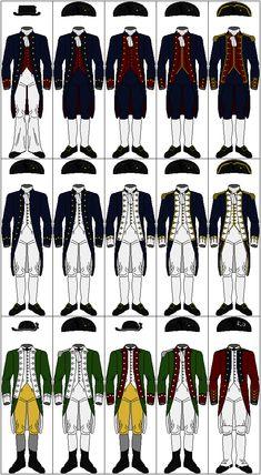 Royal Navy Uniform, Army Uniform, American Revolutionary War, American War, Historical Costume, Historical Clothing, Us Navy Uniforms, Continental Army, Fashion Plates