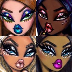 Hayden Williams - More glam looks inspired by the movement. Which look is your fave? Bratz Doll Makeup, Bratz Doll Outfits, Black Bratz Doll, Brat Doll, Doll Drawing, Makeup Illustration, Comic Art Girls, Dope Cartoon Art, Fashion Silhouette