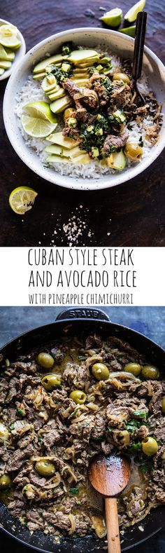 Cuban Style Steak and Avocado Rice with Pineapple Chimichurri | halfbakedharvest.com @hbharvest