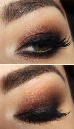 brown and black smokey eye makeup for almond shaped eyes -: