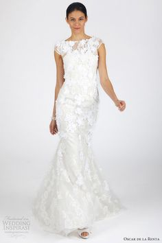 oscar de la renta bridal fall 2013 cap sleeve sheath wedding dress
