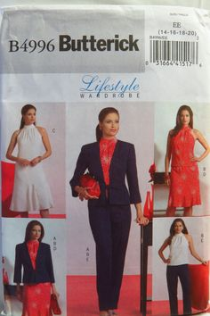 Butterick 4996 Misses'/Misses' Petite Jacket, Top, Dress, Skirt and Pants