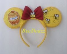 Winnie the Pooh inspired Minnie Mouse ears headband. These were a custom request from my Etsy shop, EarzbyBecDeazz.