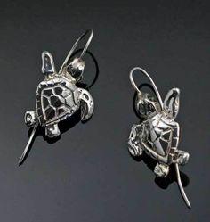 Sterling Silver Loggerhead Turtle Earrings Turtle Jewelry, Turtle Earrings, Animal Jewelry, Sea Turtle Gifts, Loggerhead Turtle, Black Leather Bracelet, Nautical Jewelry, Sterling Silver Earrings, Wire Earrings