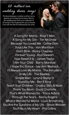 A great list of dance song ideas for the mother/son dance at a wedding reception! Mother Son Dance Song Suggestions as seen on Hill City Bride song 20 Mother Son Dance Song Ideas Wedding Songs Reception, Wedding Song List, Wedding Dance Songs, Wedding Playlist, Wedding Music, Wedding Ideas, Wedding Dancing, Wedding Photos, Wedding Parties