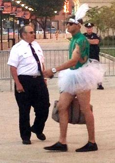 Baltimore Orioles Manny Machado dressed in a tutu leaving Camden Yards...rookie hazing at its best!