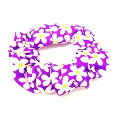 Purple Floral Scrunchie-£2 #prettytwisted #accessories #scrunchie http://prettytwistedonline.co.uk/product/bright-purple-floral-scrunchie/