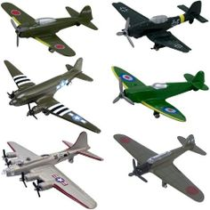 InAir WWII Planes 6 Piece Set - Assortment This is a fun assortment of authentically detailed, best-selling WWII airplanes which includes the (military Spitfire, Zero Fighter, Junkers Ju Flying Fortress (Silver) & Judy. Army Birthday Parties, Plastic Toy Soldiers, Lego Military, Army Vehicles, Dinosaur Toys, Super Yachts, Diecast Models, Craft Stick Crafts, World War Ii