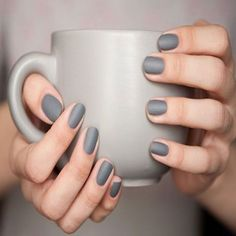 18 Chic Nail Designs for Short Nails: #12. Matte Grey Nail Design