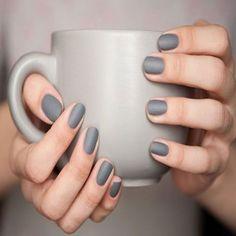 18 Chic Nail Designs for Short Nails: #12. Matte Grey Nail Design