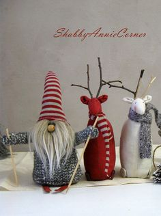 Cute Red and White little deer in warm and pretty scarfs are ready for the Winter Holidays measured (x5,5inches (23x14cm) and charming little Norwegian gnome on skies about 9in tall will create wonderful Christmas composition on your mantel place or anywhere else to make it look