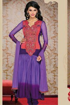 Designer Embroidered Festival Anarkali Kameez; Amethyst Violet Faux Georgette Embroidered Party and Festival Anarkali Kameez $94