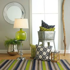 lime green, navy, brown decor | Navy Blue & Lime Green Home Decor | Shades of Light | Home decor :)