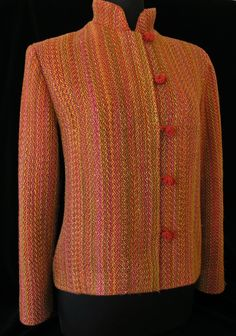 Handwoven, constructed jacket by Louise French photo by Aimee Radman Weaving Textiles, Weaving Patterns, Loom Weaving, Hand Weaving, Weaving Projects, Tear, Tapestry Crochet, Jacket Pattern, Knit Or Crochet