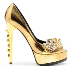 Ruthie Davis Gold Metallic Platform Pumps FW 2009 #Shoes #Heels