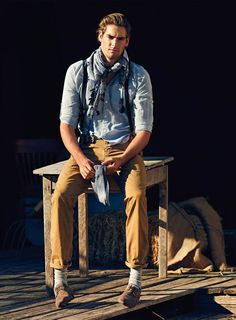 great combination, trousers, shoes, shirt, scarf, suspenders - EVERYTHING *__* O__O