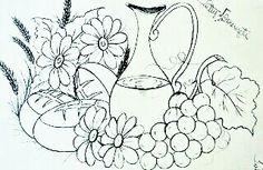 Jarro, uvas, pães e flores