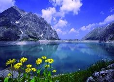 Daisies By A Mountain Lake, grey mountains near ocean water under blue and white sunny cloudy sky painting nature and landscapes Sky Painting, Painting Wallpaper, Hd Wallpaper, Wallpapers, Windows Wallpaper, Desktop Backgrounds, Winter Desktop Background, Background Pictures, Trip Planning