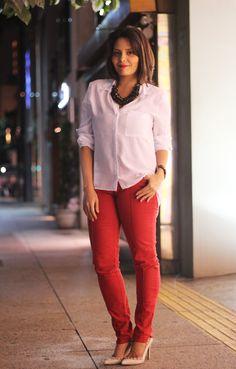 Look Glam Vermelho e Branco no www.claudinhastoco.com