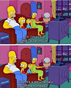 The Tarzan movie Simpsons Episodes, Simpsons Funny, The Simpsons Movie, Simpsons Quotes, Simpsons Characters, Tarzan Movie, Tarzan Funny, Clean Memes, Funny Clean