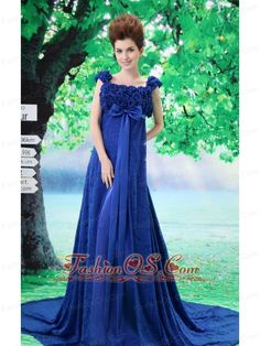 Royal Blue Flowery 2013 Evening Dresses with Lace Square and Court Train Types Of Prom Dresses, Prom Dresses Under 200, Mini Prom Dresses, Junior Prom Dresses, Affordable Prom Dresses, V Neck Prom Dresses, Elegant Prom Dresses, Beautiful Prom Dresses, Cheap Prom Dresses