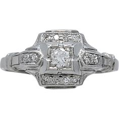 Art Deco Platinum .10ct. Diamond Engagement Ring - J34828