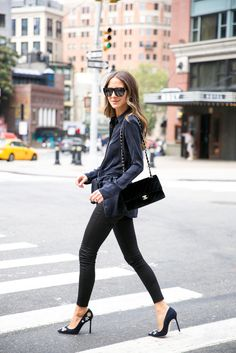 something navy nyc street style chanel bag