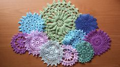 10 Cool Tones Hand Dyed Crochet Doilies