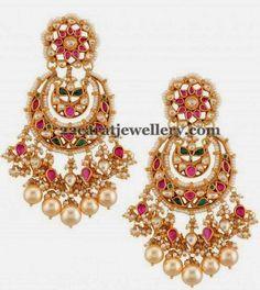 Jewellery Designs: Chandbali Designer Earrings with Rubies