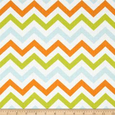 Moda Mixed Bag Zig Zag Sprouts from @fabricdotcom  Designed by Studio M from Moda, this fabric is perfect for quilting, apparel and home decor accents. Colors include aqua, orange, citrine and white.