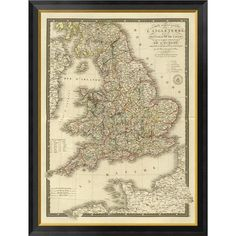 """Global Gallery Angleterre, Galles, 1827 by Adrien Hubert Brue Framed Graphic Art on Canvas Size: 40"""" H x 30"""" W x 1.5"""" D"""