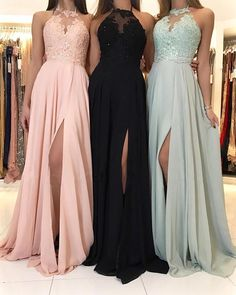 Charming Lace Halter Long Chiffon Split Evening Gowns Formal Prom Dresses sold by Hot Lady on Storenvy Pretty Prom Dresses, Hoco Dresses, Lace Evening Dresses, Ball Dresses, Sexy Dresses, Evening Gowns, Chiffon Dresses, Lace Chiffon, Halter Prom Dresses Long
