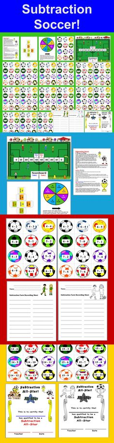 $3.25 Subtraction Soccer Math Centers - 39 Pages - 190 subtraction facts to 18. Print the ones you need.  Recording Sheets and Optional Awards.   Includes 2 sizes of soccer fields (8 x 11 and 12 x 18) and 2 sizes of yardage dice.  Also a spinner that can be used instead of the dice. You can print the soccer balls back to back so that when they are turned text side down, they still look appealing!  It's designed to match up perfectly.