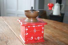 Wooden Lap Coffee grinder  vintage  copper mill  door HomiArticles