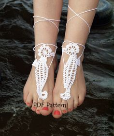#Crochet Barefoot Sandals Pattern SEAHORSE Crochet pattern Bridal Barefoot Sandals Beach Wedding DIY Anklet Pattern Foot Jewelry PDF Tutorial by CrochetByPapilio on Etsy