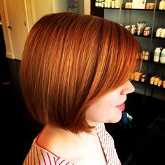 Copper Red Hair With Layered Bangs